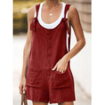 New Women Casual Solid Color Button Jumpsuit with Pockets