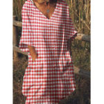New Casual Pocket Plaid Dress