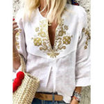 New Ethnic Print V-neck Puff Sleeve Women Cotton Linen Blouse