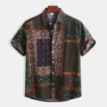 New Mens Ethnic Style Pattern Printing Casual Fashion Shirts