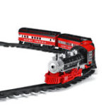 New Smoke Light Simulation Sound Effect Classical Steam Train Assembled Electric Rail Car Track Toys