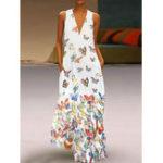 New Butterfly Print Bohemian Sleeveless Maxi Dress