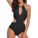 New One-Piece Halter Backless Hollow Swimwear