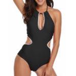 New One-Piece Halter Backless Hollow Swimwear