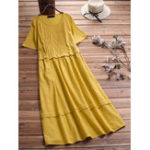 New Women Pure Color Crew Neck Short Sleeve Dress