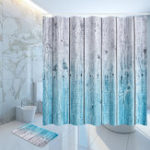 New Rustic Wood Panel Shower Curtain 12 Hook Bathroom Waterproof Fabric Bathroom