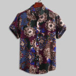 New Mens Pattern Printing Cotton Breathable Ethnic Style Shirts