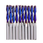 New Drillpro 10pcs 3.175mm Shank Blue Coated Spiral Flat End Mill Two Flute CNC Milling Cutter