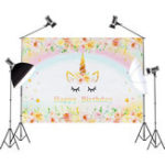 New 3x5FT 5x7FT Vinyl Gold Unicorn Happy Birthday Photography Backdrop Background Studio Prop