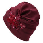 New Monochrome Side-mounted Sequined Flower Turban Hat