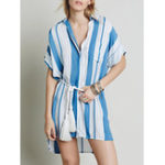 New Women Casual Striped Short Sleeve Shirt Dress with Pockets