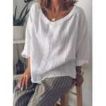 New S-5XL Women Solid Color Cotton Lapel 3/4 Sleeve Blouse