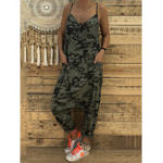 New Women Spaghetti Straps Camouflage Jumpsuit with Pockets