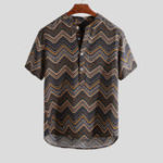 New Mens Fashion Printed Chevron Stand Collar Henley Shirts
