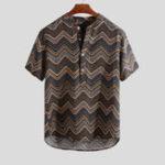 New Mens Fashion Printed Chevron Stand Collar Henley Shirts