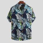 New Men Hawaiian Plants Printed Holiday Beachwear Shirts