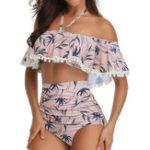 New High Waist Ruffled Straps Split Swimwear