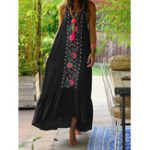 New Women Bohemian Printed Straps Ruffles Hem Holiday Maxi Dress