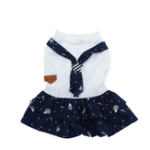 New Spring Summer Pet Dogs Suits Clothes Cotton Material Puppy Navy Couples Pants Teddy Dress