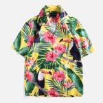 New Men Cartoon Toucan Floral Printed Short Sleeve Shirts