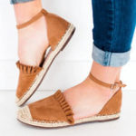 New Large Size Straw Stitching Buckle Sandals