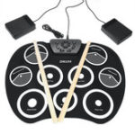 New Portable Electronic Roll Up Drum Set Kit 9 Silicon Pad for Beginner