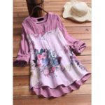 New Women Casual Cotton Linen Floral Print Long Sleeve Blouse