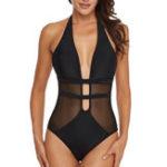 New One Pieces Black Mesh Hollow Swimwear