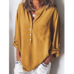 New Women Solid Color Long Sleeved Loose Shirts