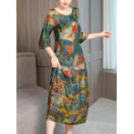 New Women Vintage Art Print Round Neck Half Sleeve Dress