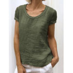 New Women Solid Color Short Sleeve Round Neck Casual T-Shirts