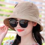 New Women Summer Solid Vogue Sunscreen Bucket Hat