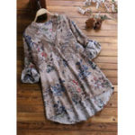 New Vintage Floral Print V-neck Long Sleeve Asymmetrical Blouse