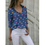 New Women Casual Love Print Button Down Long Sleeve Blouse
