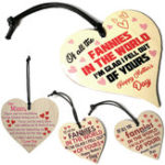 New Wooden Heart Plaque Funny Rude Mothers Day Heart Gifts Novelty Daughter Son Decorations