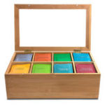 New 8 Compartments Wooden Tea Box Glass Top Lid Cover Container Teabags Display Storage Gift