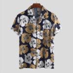 New ChArmkpR Men Floral Printed Hawaiian Vacation Shirts