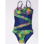 New One-Piece Print Mesh Swimwear