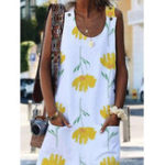 New Women Sleeveless Floral Print Dress with Pockets