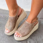 New Large Size Peep Toe Weaving Platform Sandals For Women