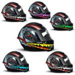 New Waterproof Motorcycle Helmet Shark Mouth Light Strip LED Night Signal Lights Luminous Bar Durable Flashing Stripe