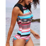 New Zipper Front Cover Belly Thin Striped Swimwear