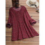 New Plus Size Floral Print Pleated Front Long Sleeve Blouse