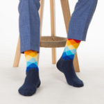 New Men Sub-gradient Cotton Breathable Socks