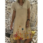 New Women Short Sleeve V Neck Casual Print Dress