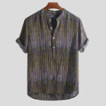 New Mens Ethnic Style Printed Colorful Stripe Loose T-shirts