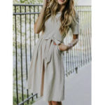 New Solid Color O-neck Dress