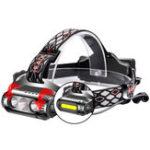 New XANES X-963 850LM 3*T6+COB 8 Modes Waterproof Headlamp White Green Red LED Light Flood Light Battery Indicator 2*18650 Battery USB Interface