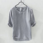 New Mens Cotton Breathable Solid Color Short Sleeve Casual Shirt