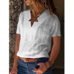 New Pure Color V Neck Short Sleeve Casual Blouse